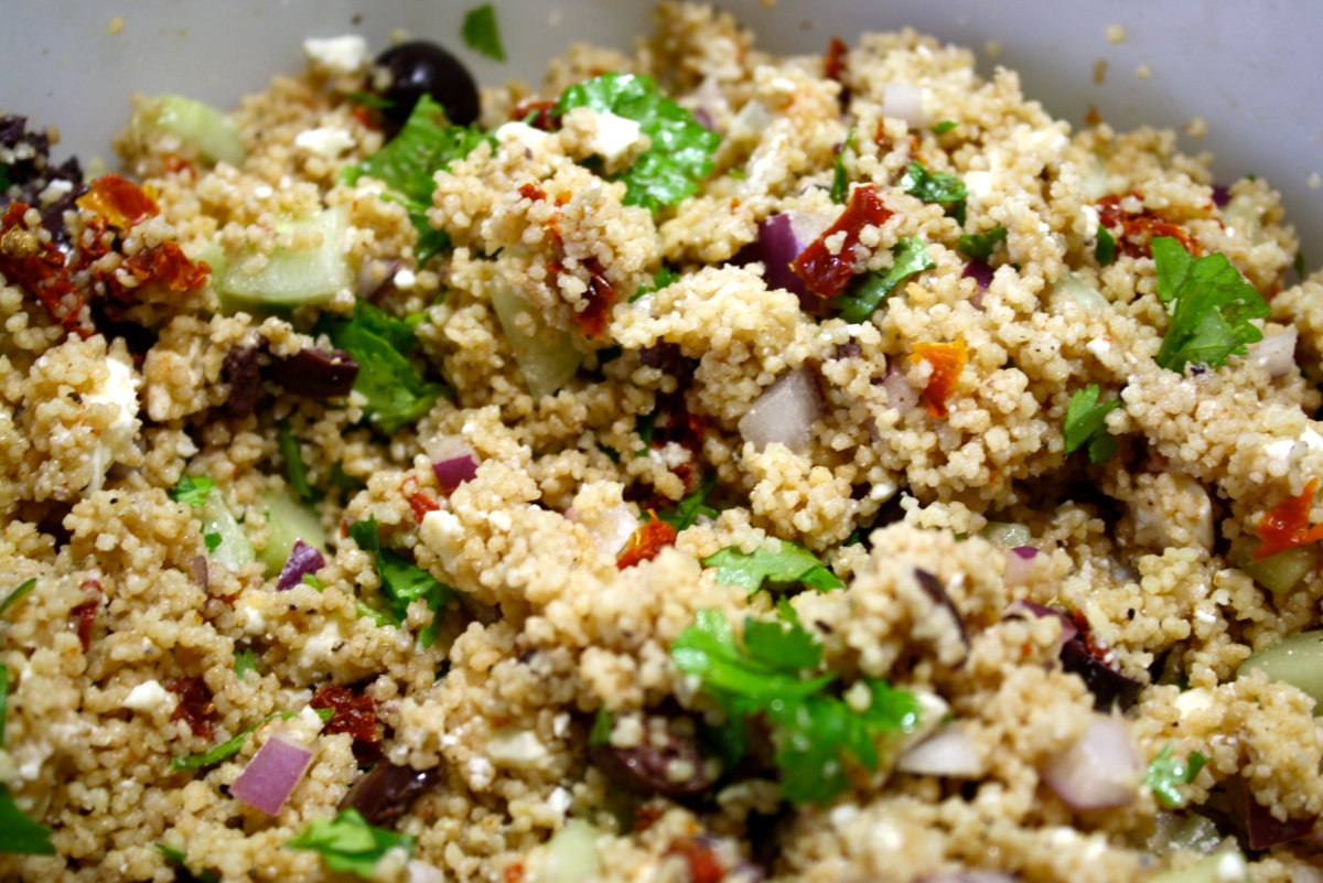 fresh herb couscous salad with sundried tomatoes good